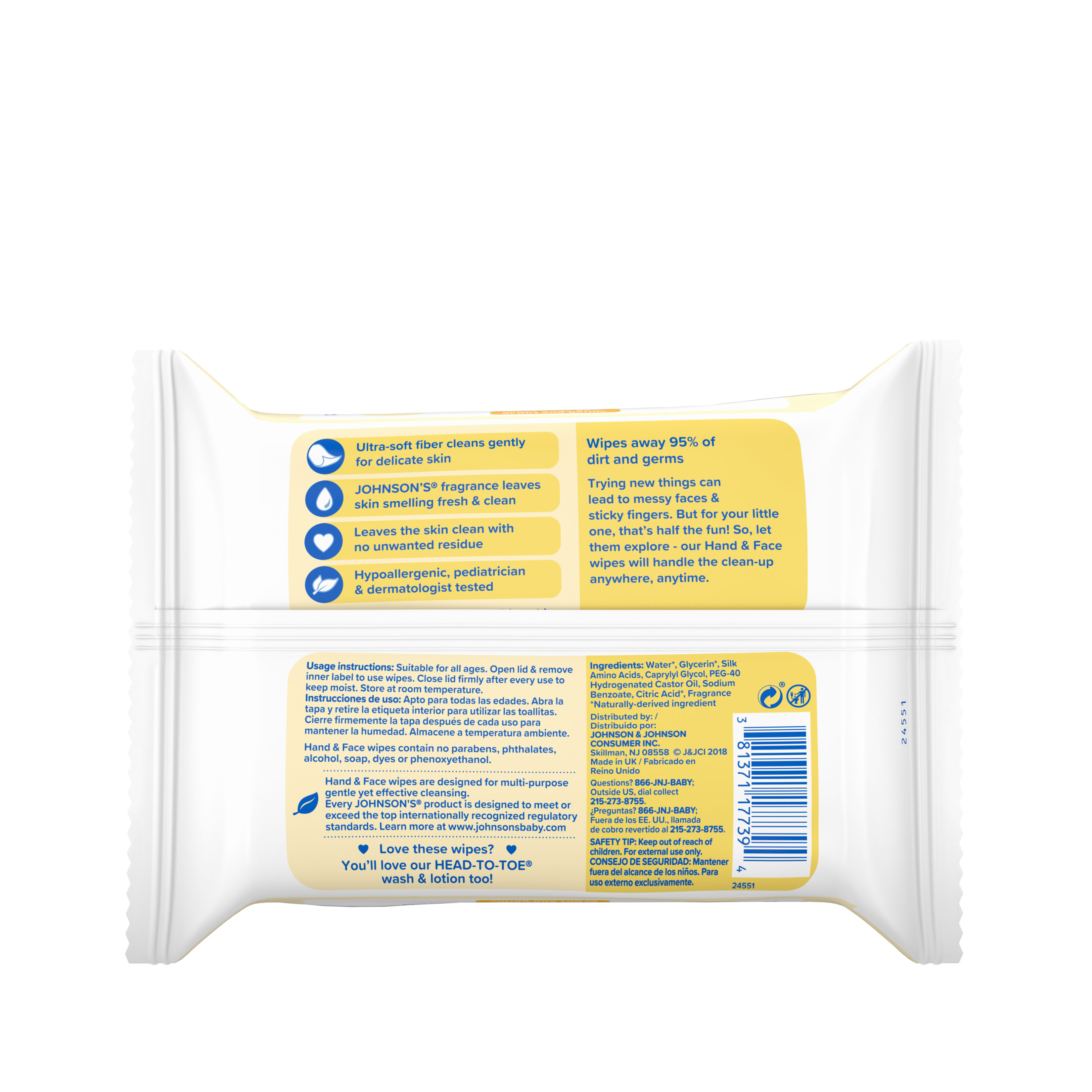 Johnson S 174 Baby Hand And Face Wipes