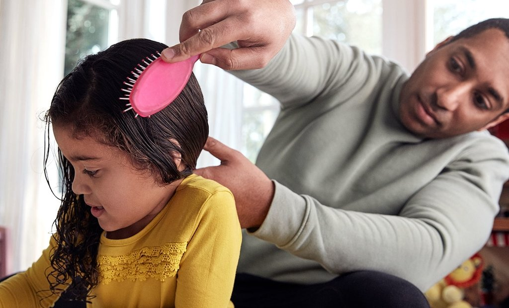 Combing toddler hair
