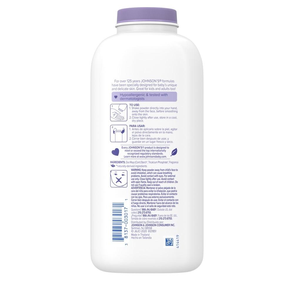 Ingredientes del talco de lavanda para bebé JOHNSON'S®