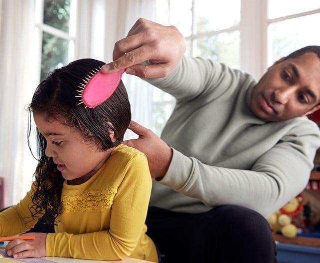 Combing toddler hair
