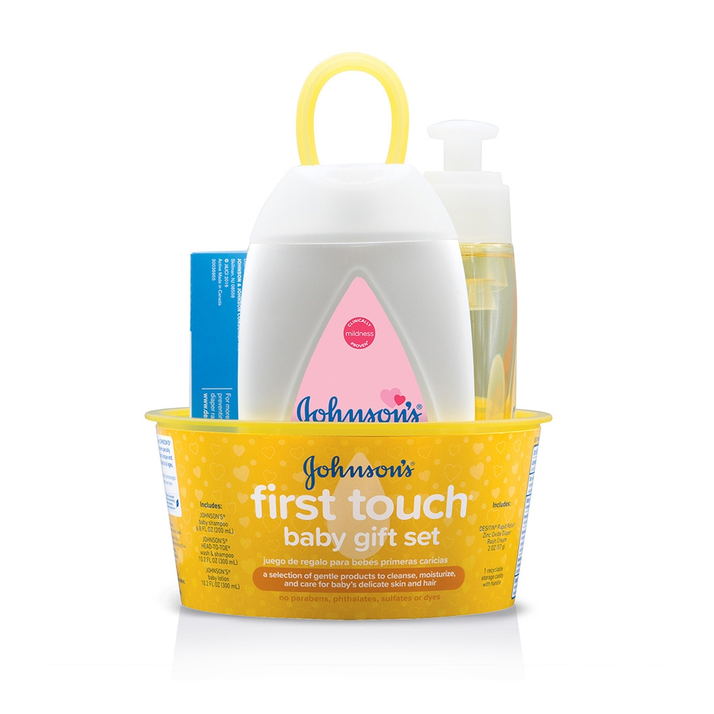 JOHNSON'S® first touch newborn gift set front