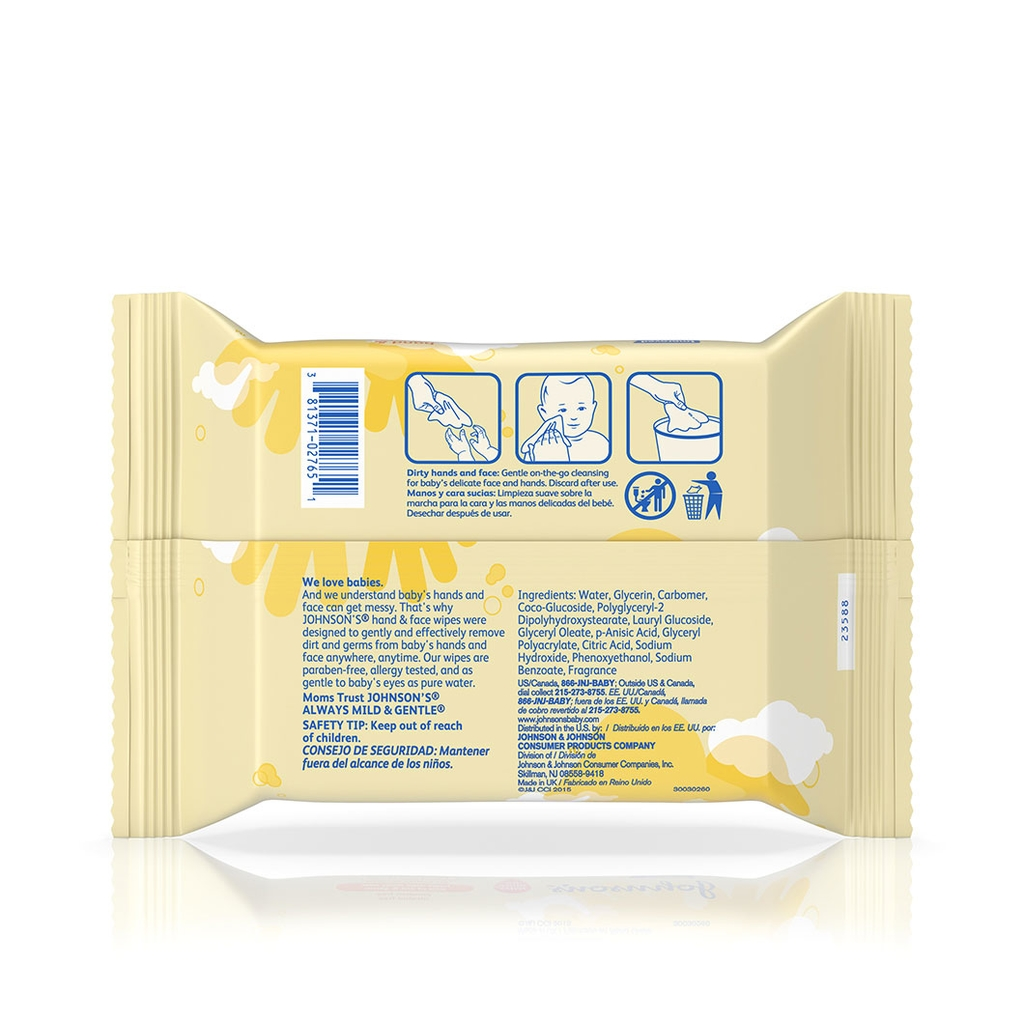 JOHNSON'S® hand and face baby wipes ingredients