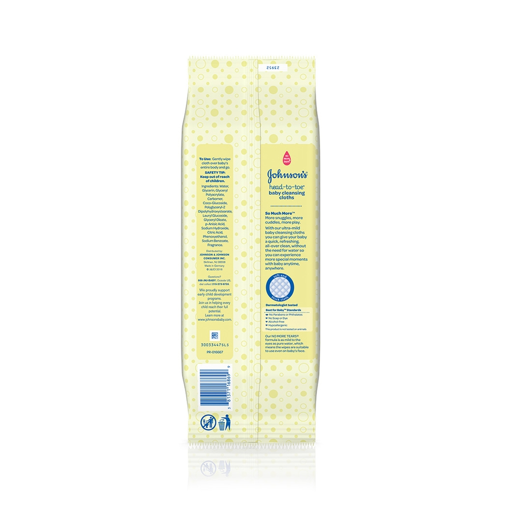 JOHNSON'S® HEAD-TO-TOE® cleansing cloths ingredients