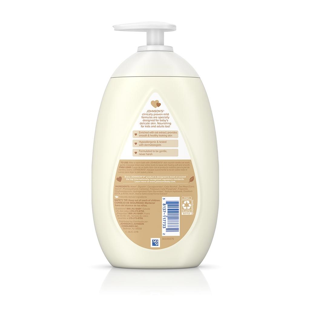 JOHNSON'S® skin nourish vanilla oat baby lotion ingredients