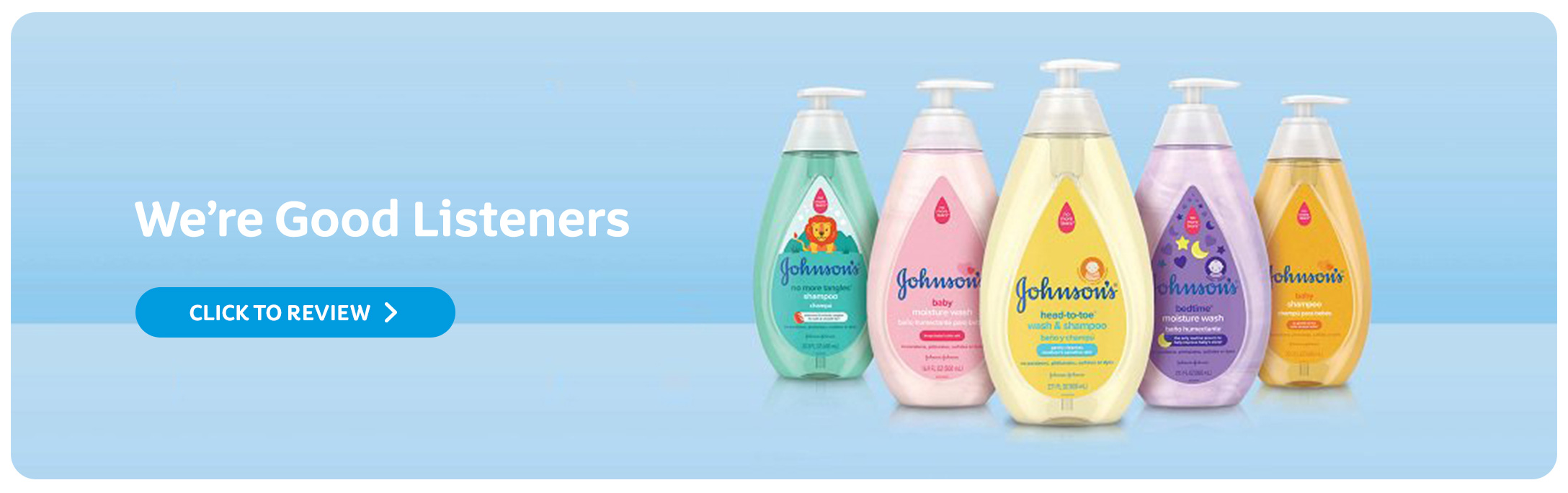 A medly of Johnson's® Baby shampoos and washes